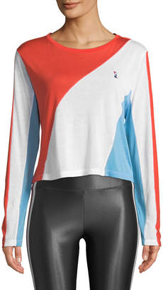P.E Nation Spiral Long-Sleeve Colorblocked Drapey Top