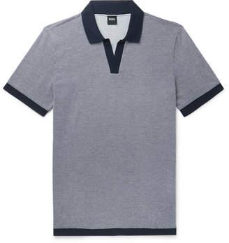 9fee950b HUGO BOSS Textured-Knit Cotton Polo Shirt