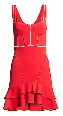 Jonathan Simkhai Women's Crepe Combo Mini Ruffle A-Line Corset Dress