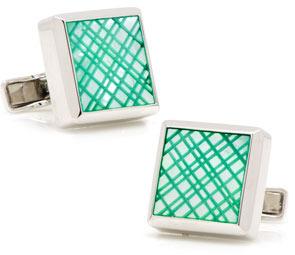 Ravi Ratan Laser Cut Cuff Links, Green