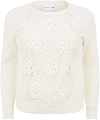 Giorgio Grati Ribbed Knit With Beaded Flowers