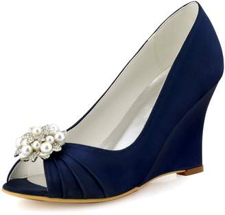 Elegantpark WP1549 Women Wedding Shoes Peep Toe AE01 Removable Shoe Clips Satin Bridal Wedges US 8