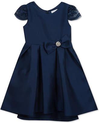 Rare Editions Little Girls Embellished Neck Satin Dress