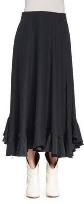 Chloe Flounce-Hem Midi Skirt, Black $1,750 thestylecure.com