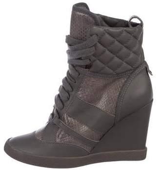 b69ccffdc0d Chloé Snakeskin-Trimmed Wedge Sneakers
