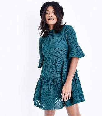 New Look Petite Dark Green Floral Cut Out Tiered Smock Dress