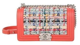 Chanel Tweed Medium Boy Bag Coral Tweed Medium Boy Bag