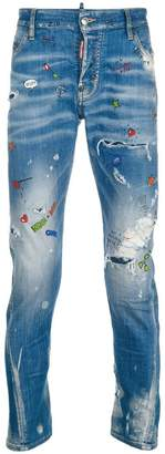 DSQUARED2 Sexy twist paint splatter jeans