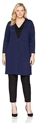 Kasper Women's Plus Size Ribbed Long Duster with Hardware Detail (3)