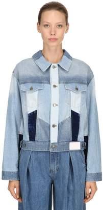 Sjyp Patchwork Cotton Denim Jacket