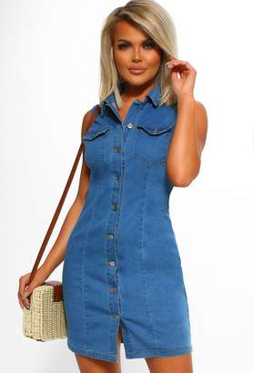 2909704104d1 Pink Boutique Friyay Light Blue Button Front Denim Mini Dress