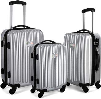 Milano ABS Luxury Shockproof Luggage 3 Piece Set Silver