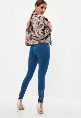Missguided Blue Zip Back Super Soft Stone Wash Jeggings