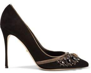 Sergio Rossi Royal Metallic Leather-Trimmed Embellished Suede Pumps
