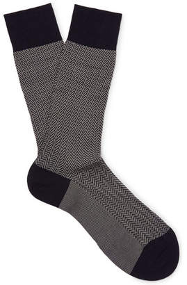 Pantherella Fabian Herringbone Cotton-Blend Lisle Socks