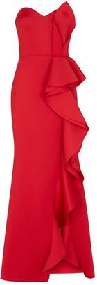 Badgley Mischka Neoprene Ruffle Dress