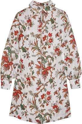 McQ Pintucked Floral-print Chiffon Mini Dress - Ivory