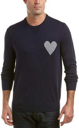 Michael Bastian Gray Label Heart On Wool-Blend Crewneck Sweater