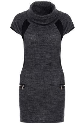 Quiz Dark Grey Knit Cap Sleeve Tunic