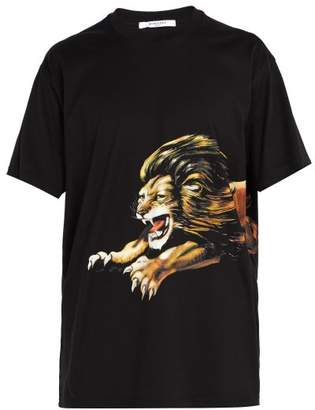 Givenchy Leo Lion Print Cotton T Shirt - Mens - Black
