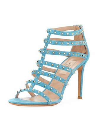 Valentino Lovestuds 90mm Caged Suede Sandal
