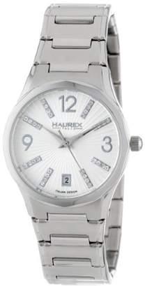 Haurex Italy Women's 2A389DS1 Iris Round Stainless Steel Sunray Dial Swarovski Date Watch