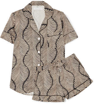 Desmond & Dempsey - Printed Cotton-voile Pajama Set - Black