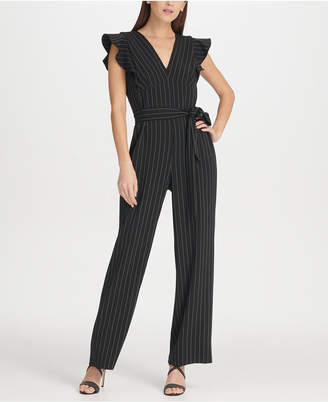 817293e23287 DKNY Pinstripe Jumpsuit with Ruffle Detail