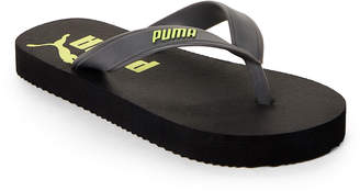 Puma Toddler/Kids Boys) Black & Yellow Logo Flip Flops
