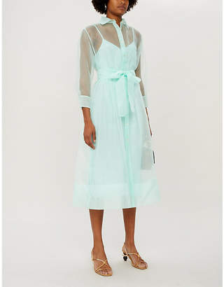 Maje Roane semi-sheer organza midi dress
