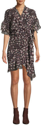 Link Printed Viscose Flounce Wrap Dress