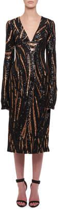 Halpern Long-Sleeve V-Neck Sequin Slit Midi Dress