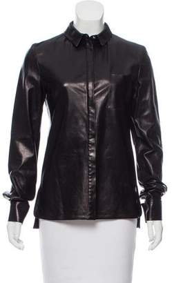 Thierry Mugler Leather Button-Up Top w/ Tags