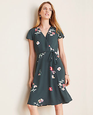 Ann Taylor Petite Floral Wrap Flare Dress
