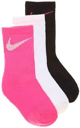 Nike Metallic Youth Crew Socks - 3 Pack - Girl's