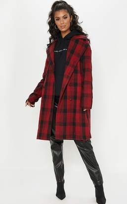 PrettyLittleThing Red Checked Oversized Coat
