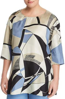 Marina Rinaldi Farsetto Abstract Print Silk Top