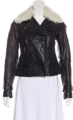 Belstaff Leather Shearling-Trimmed Jacket Black Leather Shearling-Trimmed Jacket