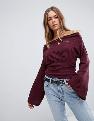 Free People Crazy On You cropped thermal flared sleeve top