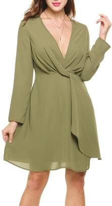Zeagoo Women's Deep V-Neck Long Sleeve Draped Faux Wrap Chiffon Dress