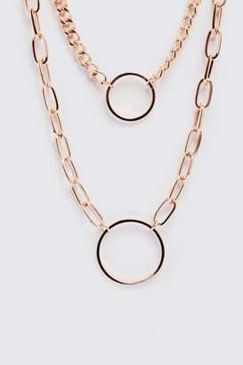 BoohoomanBoohooMAN Mens Metallics Double Chain Pendant Necklace, Metallics