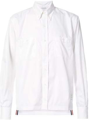 Thom Browne Long Sleeve Button Down Point Collar With Mesh Lining In Ripstop