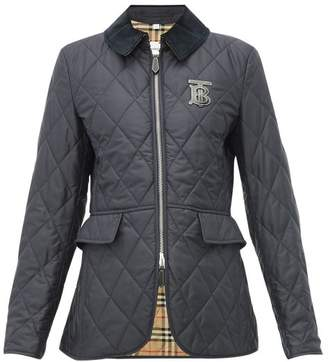 Burberry Ongar Monogram Applique Quilted Jacket - Womens - Navy