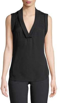 95f155324a80 Emporio Armani Sleeveless Silk V-Neck Blouse