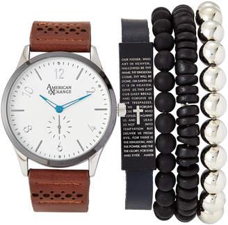 American Exchange MST5184 Silver-Tone & Brown Watch & Bracelet Set