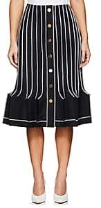Thom Browne WOMEN'S PLEATED WOOL-MOHAIR SKIRT-NAVY SIZE 40 IT