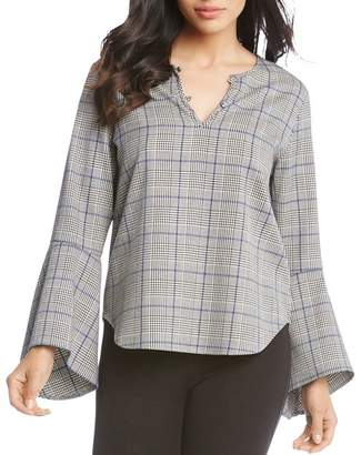 Karen Kane Plaid Bell-Sleeve Top