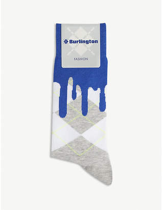 Burlington Drippy Argyle cotton-blend socks