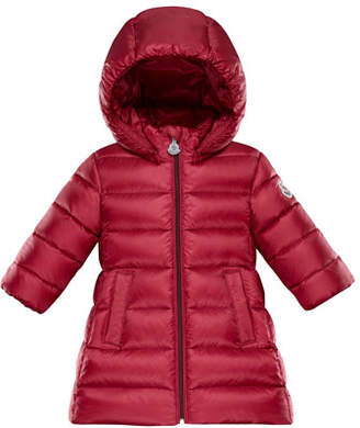 Moncler Majeur Puffer Coat w/ Hood, Red, Size 12M-3T