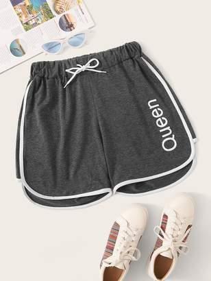 Shein Letter Print Drawstring Waist Contrast Binding Shorts
